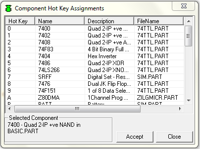 Component Hotkey Assignments