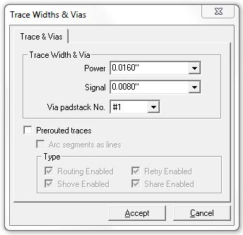 trace width and vias