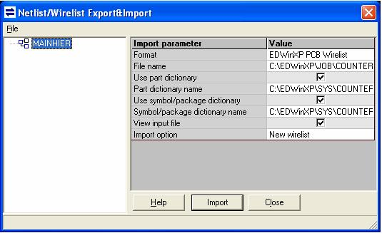 Netlist/ Wirelist Export & Import Window