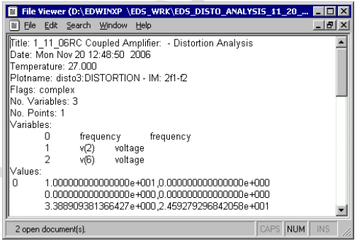 Distortion Analysis Output