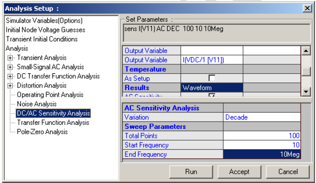 Analysis Setup-DC/AC Sensitivity Analysis