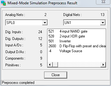 Mixed-Mode Simulation Preprocess Result