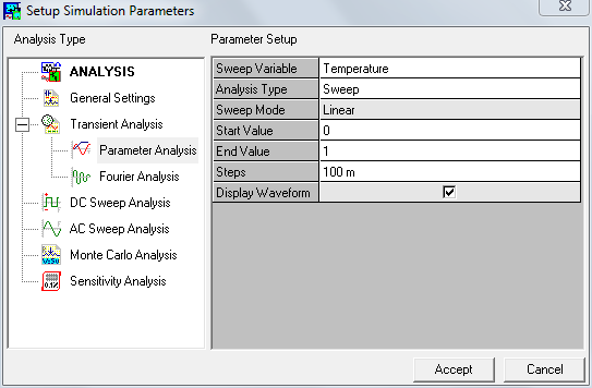 Setup Simulation Parameter- Parameter analysis