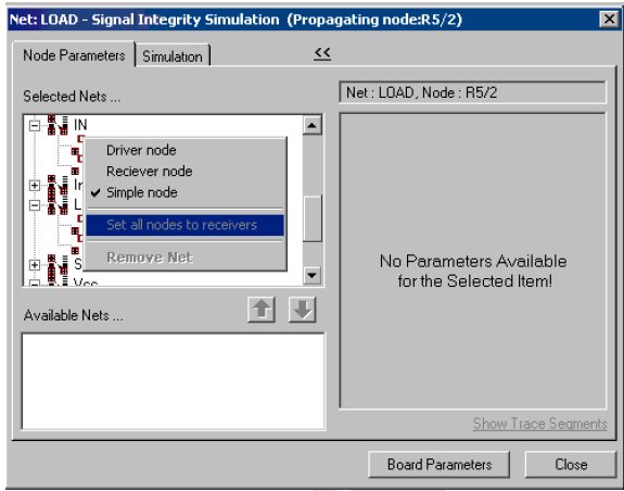Net Load- Signal integrity simulation window