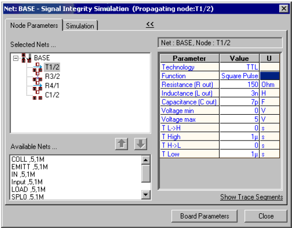 Net Base- Signal integrity simulation window