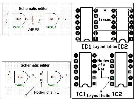 Wires, Nets and Traces in Schematic editor