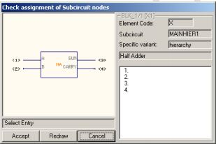 Check assignment of Subcircuit tags window