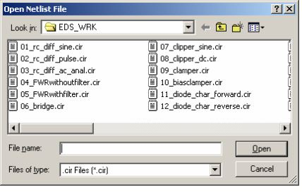 Open Netlist file window