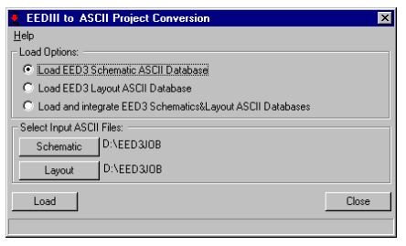 EEDIII TO ASCII Project Conversion window