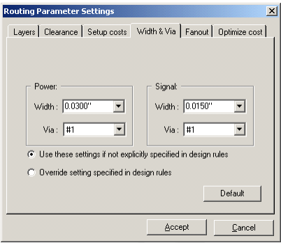 Routing Parameter Settings