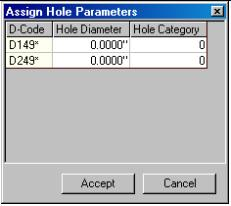 Assign Hole parameters window